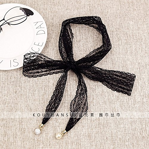 (Lace Ribbon Scarf Small Scarf Women Girls Long Pearl Diamond Unique Black tie were Thin Solid Color Hair Band (Black)
