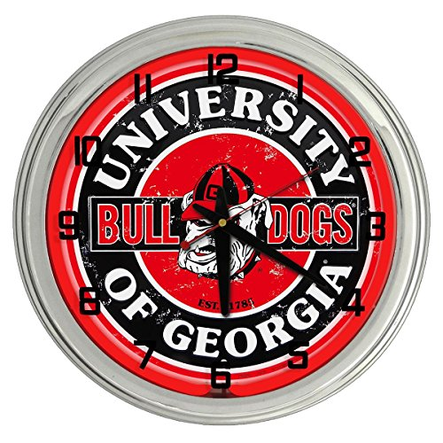 Bulldogs Sign Neon Georgia (University of Georgia Bulldogs Red Neon clock from Redeye Laserworks)