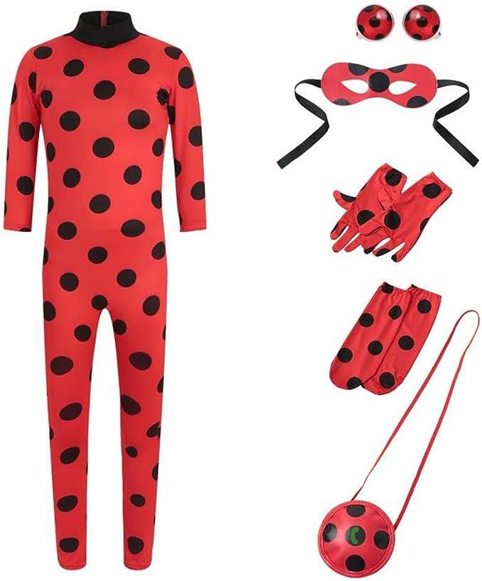 Neu Kinder Mädchen Karneval Overall Set Ladybird Ladybug Kostüm Perück Cosplay