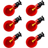 6pcs Red Automatic Plastic Chicken Drinker Cups, Poultry Drinke Used for Poultry, Chicken, Hen and Birds