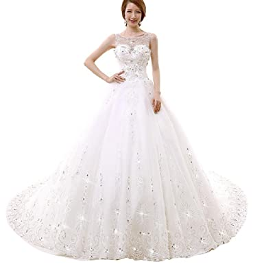 daa1de45 Women's Sparkly Ball gown Diamonds Wedding Dress at Amazon Women's Clothing  store: