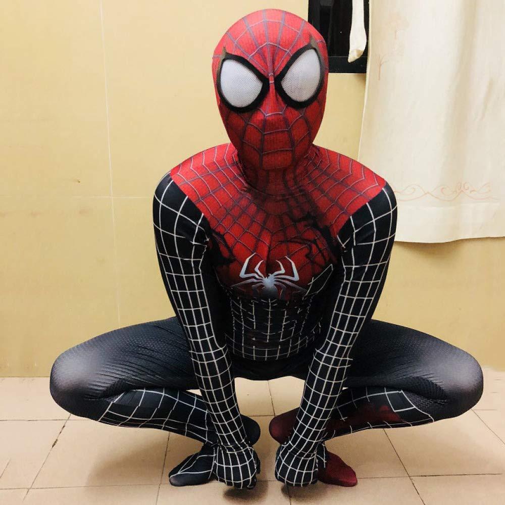 noir petit WEGCJU Extraordinaire 2 Venin De Forme Symbiotique Collant Siamois Spider Man HalFaibleeen Exposition Costume Cosplay,noir-XL