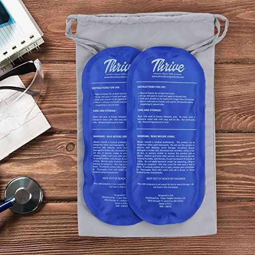 Gel Ice Cold Compress – (2 Pack) – Reusable comfortable soft touch vinyl provides instant pain relief, rehabilitation and therapy from injuries like shoulder, upper/lower back, knee, neck, ankle by Thrive (Image #2)