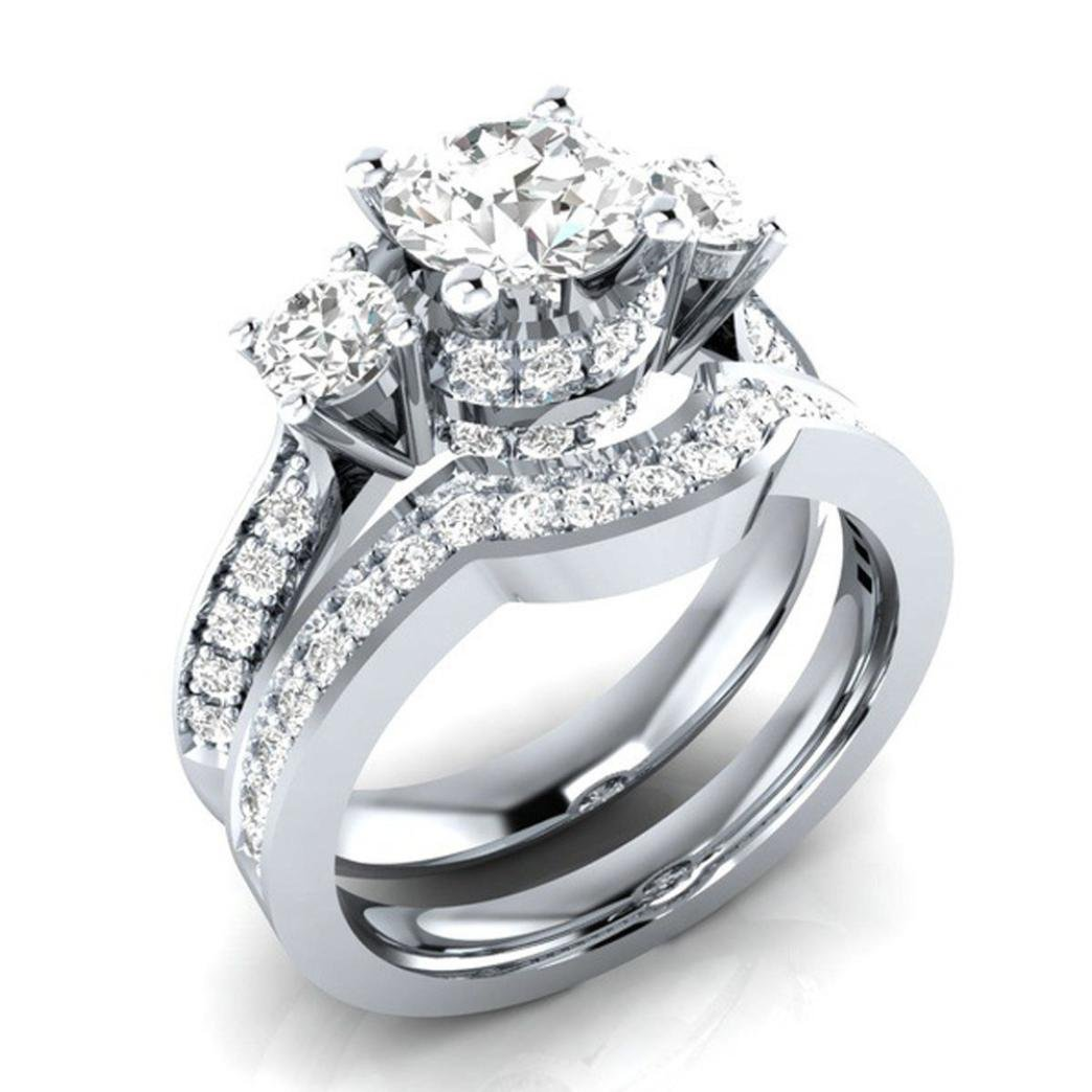 WensLTD Clearance! 2-in-1 Womens Vintage White Diamond Silver Engagement Wedding Band Ring Set (#7, Silver-7)