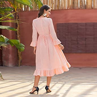 Kolylong elegancka damska sukienka koktajlowa z okrągłym dekoltem, jednokolorowa, z długimi rękawami, odświętna, na imprezę, wieczorowa sukienka plażowa, wieczorowa, wieczorowa: Odzie&#