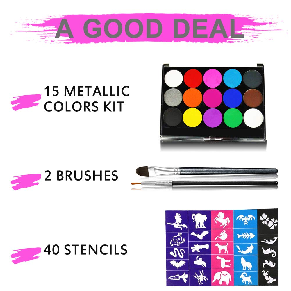 Face Painting Kits, 15 Colors 40 Stencils 2 Brushes, Water Based Paints Non-Toxic Safe for Kids, Ideal for Halloween Body Makeup Party Supplies