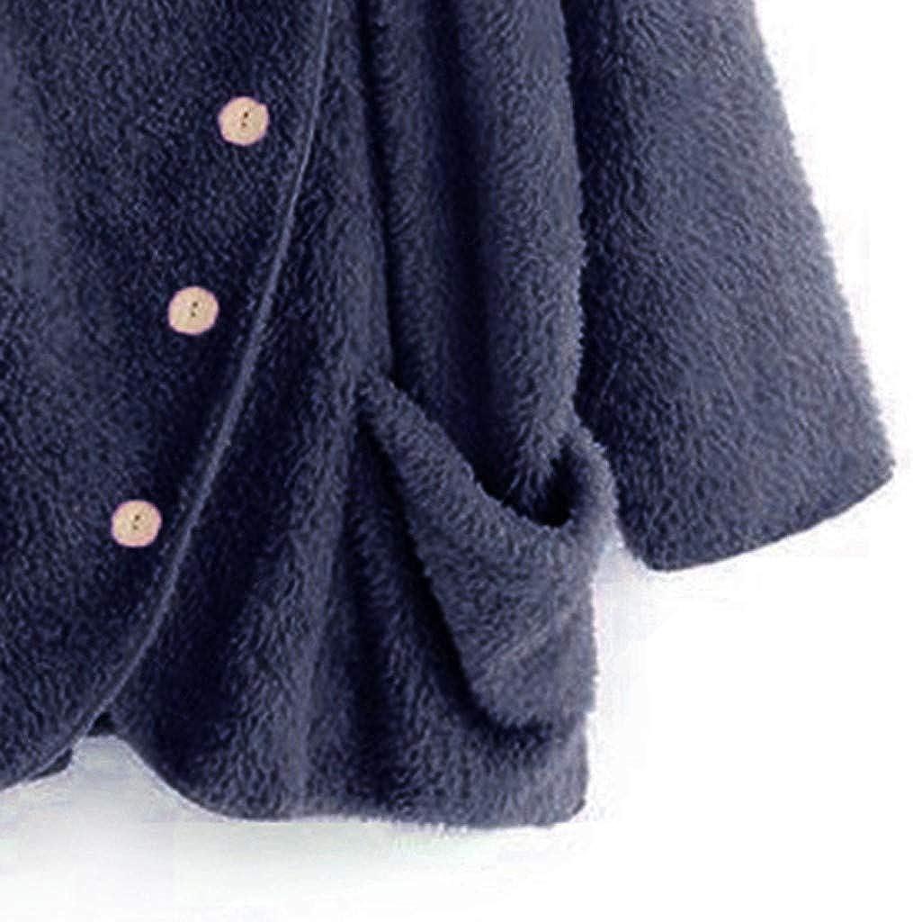 Femmes Casual Veste /à Col Roul/é Unie Grandes Poches Manteaux Sweats Vintage Surdimensionn/és