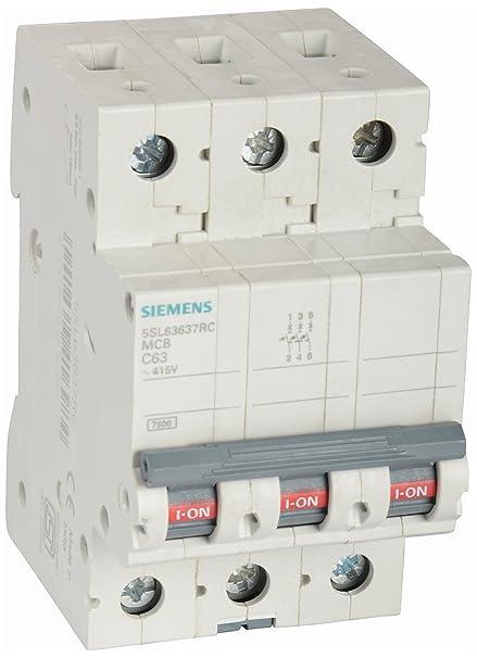 Siemens 63A 3 Pole Miniature Circuit Breaker (White, 1-Piece ...