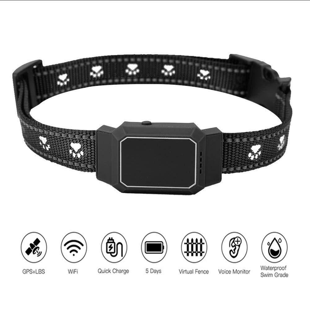 WLDOCA Pet GPS Tracker for Dog,Anti-Lost GPS/WiFi/LBS Real Time Pet Finder Locator & Activity Monitor Tracking Device for Dogs and Cats,Black