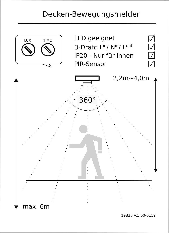 Chilitec Decken-Einbau-Bewegungsmelder 360/°