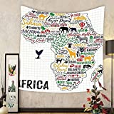 Gzhihine Custom tapestry Quote Tapestry Colorful Lettering of African Countries in Africa Continent with Animals Art Print for Bedroom Living Room Dorm 60 W X 40 L Multicolor