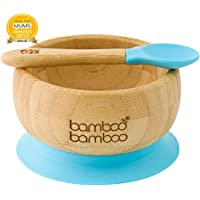 Baby Suction Bowls and Matching Spoon Set, Suction Stay Put Feeding Bowl, Natural Bamboo (Blue)