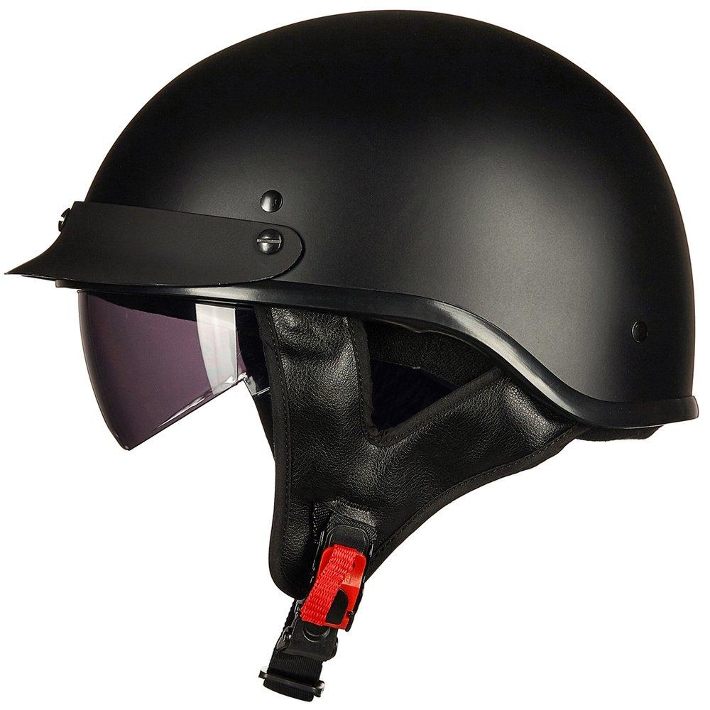 ILM Motorcycle Half Helmet Sun Visor Quick Release Buckle DOT Approved Half Face Cycling Helmets for Men Women (L, MATT BLACK) by ILM