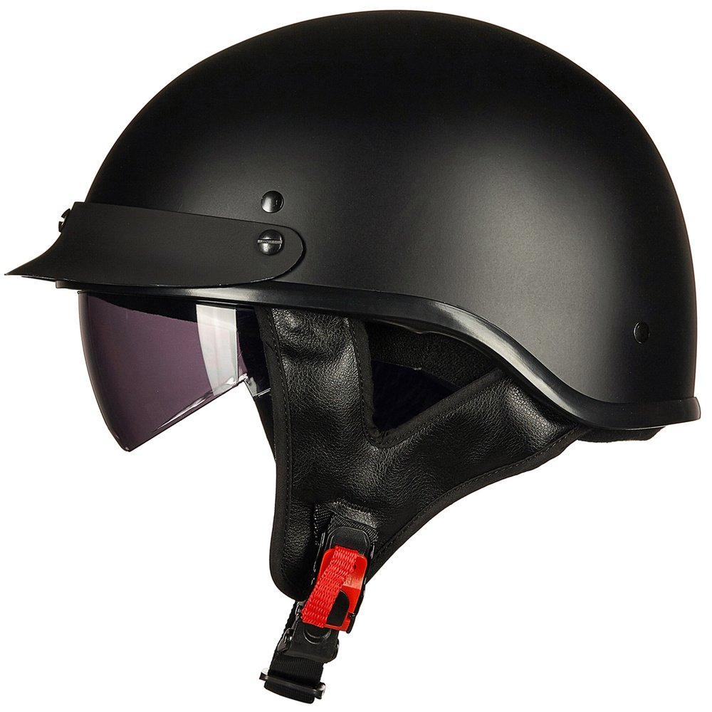 ILM Motorcycle Half Helmet With Integrated Sun Visor Quick Release Buckle DOT Approved (L, MATT BLACK)
