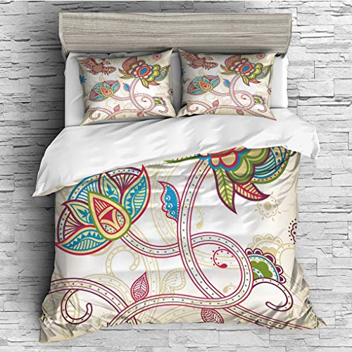 3 Pieces (1 Duvet Cover 2 Pillow Shams)/All Seasons/Home Comforter Bedding Sets Duvet Cover Sets for Adult Kids/King/Floral,Ethnic Birds and Curved Flower Petals Shabby Chic Style Artsy Image,Multicol ()