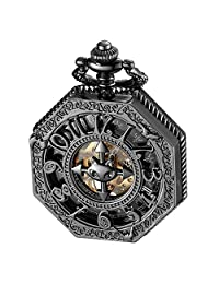 ALPS Pocket Watch Steampunk Black Skeleton Mechanical Automatic Hand Wind Pocket Watch
