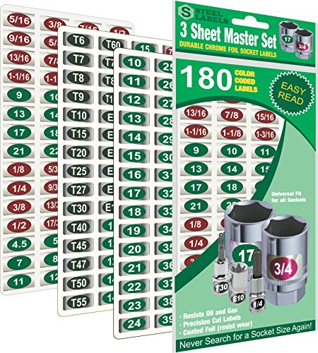 "Steellabels - Mechanics Master Set ""Economy Edition"" 180 piece chrome foil labeling set for Socket Sets 1/4"", 3/8"", 1/2"" Drives, Torx, Jumbo"
