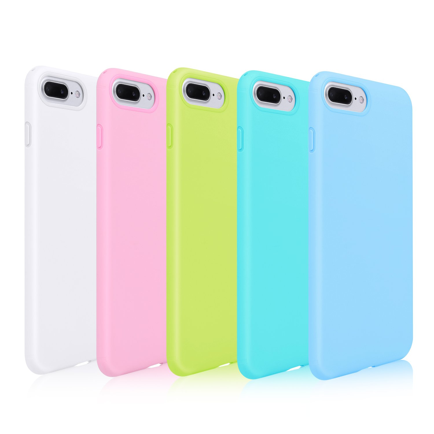 new arrival bf26d 243af Pofesun Sleek Silicone Gel Rubber Case Protective TPU Back Cover Compatible  for 5.5 inches iPhone 7 Plus 2016 / iPhone 8 Plus 2017-5 Pack (White, ...