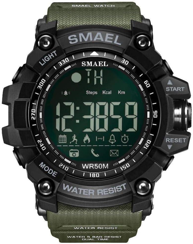 Simshew Rastreador de Ejercicios SMAEL 1617B Bluetooth Smart Watch Digital Sport Reloj Masculino Calorías Monitorización de la frecuencia cardíaca y del Sue (Color : Army Green)