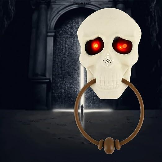 Enjoygoeu Halloween Deko Turklingel Skelett Dekoration Horror Leuchtend Totenkopf Mit Leuchtende Augen Und Sprechende Grusel Faszinierende Begrussung Amazon De Kuche Haushalt