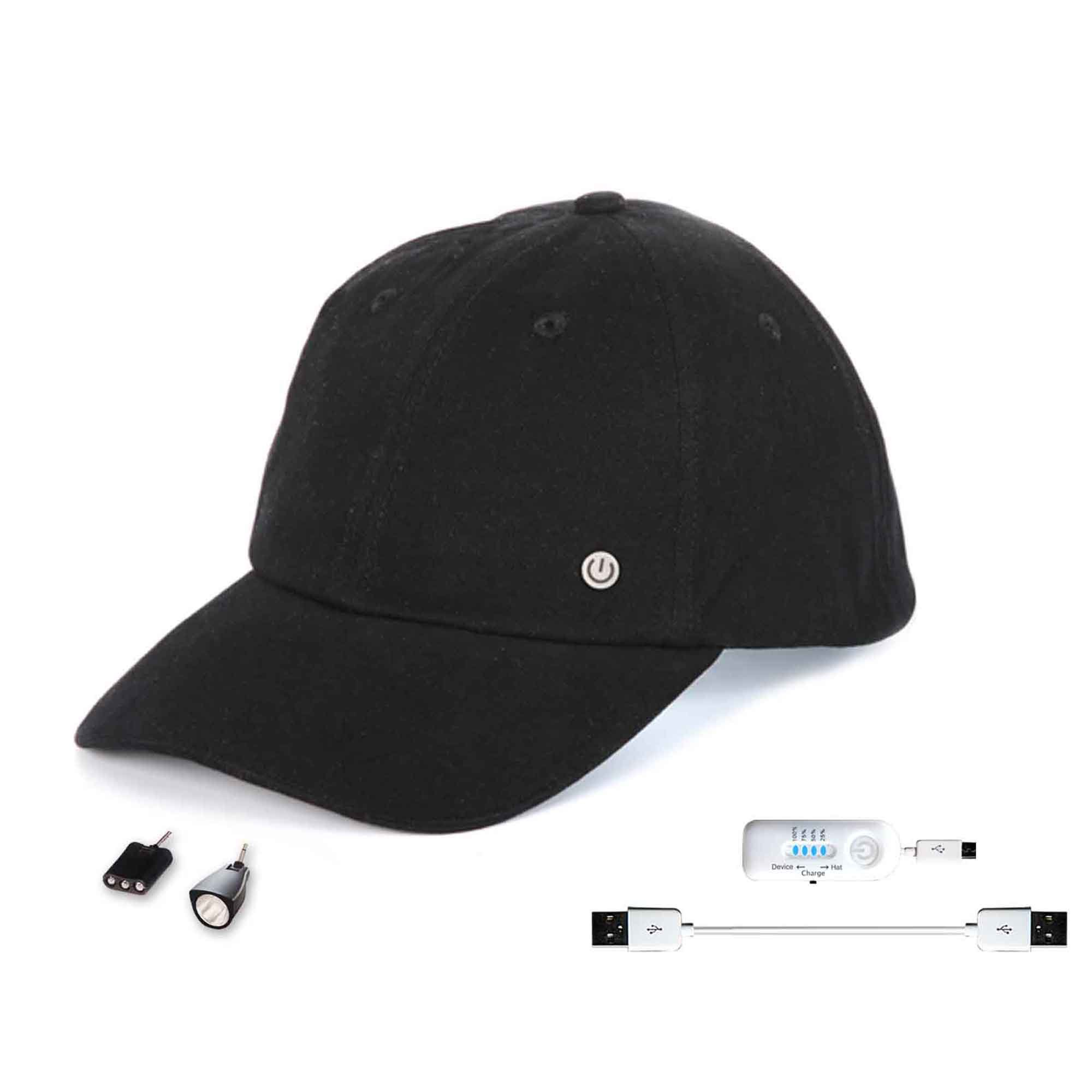 Power Gear Rechargeable Hat with Attachable LED Lights, Black