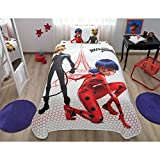 LaModaHome 3 Pcs Luxury Soft Colored Bedroom 100% Cotton Licensed Single Coverlet (Pique) Set Thin Summer/Miraculous Ladybug For Kids Cartoon Design Hexagon/Queen King Full Size with Fitted Sheet