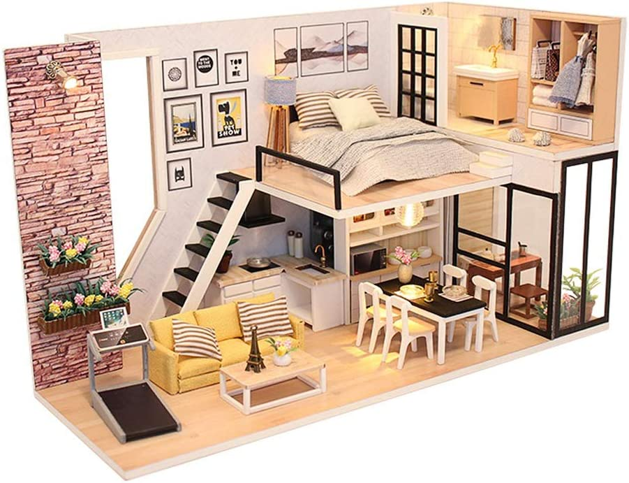 ZUINIUBI Dollhouse Miniature Kit-Mini DIY Wooden Loft House with Furniture,Dust-Proof Cover,Music Movement,Assemble Tool,1:24 Scale for Teens Adults