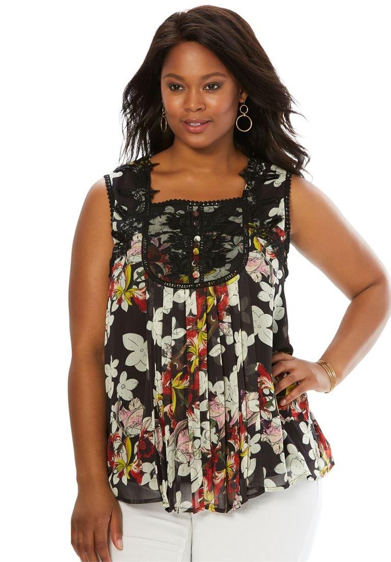 Women's Plus Size Sleeveless Chiffon Top