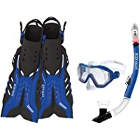 Body Glove Aquatic Predator Máscara Snorkel y aletas de purga Set, tamaño grande), color azul/negro