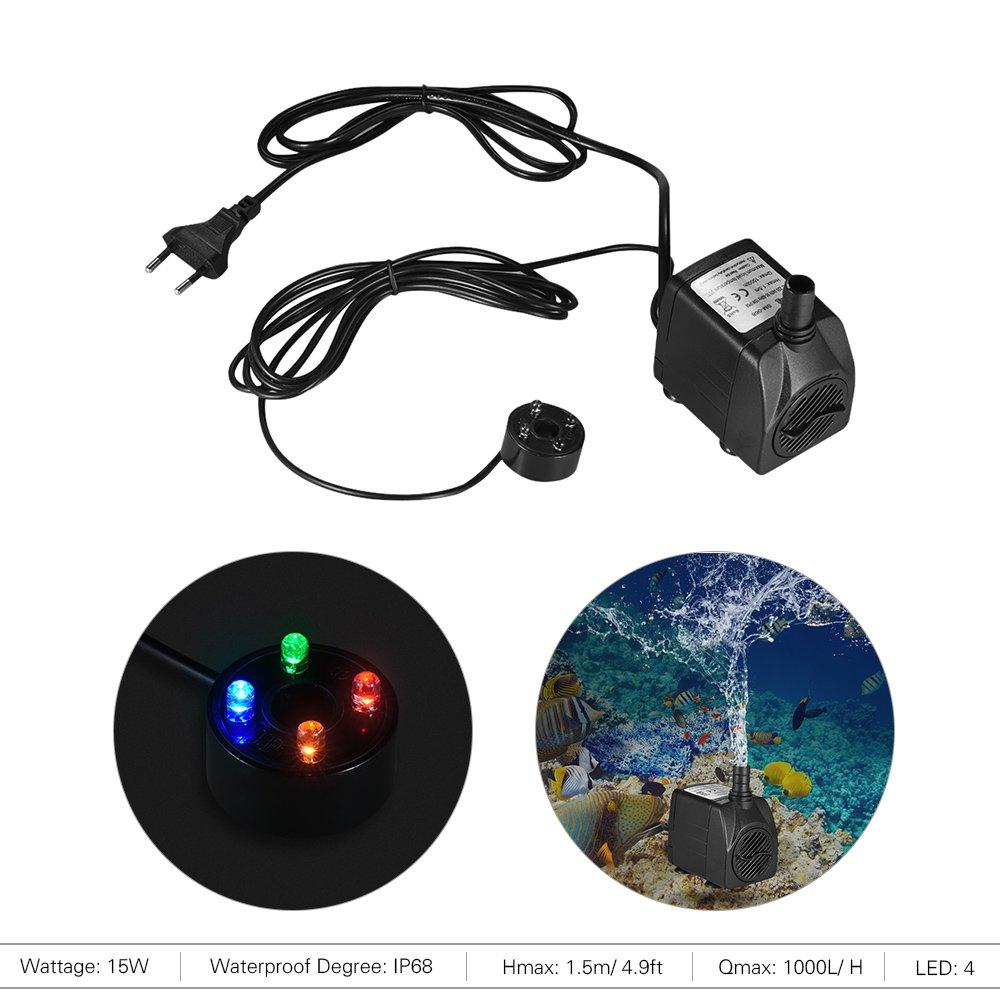 150L//H 2W Bomba de Agua Sumergible con 4 Leds Luces Ultrasilencioso para Acuario Pecera Fuente de Sobremesa Hidropon/ía 4.9ft 1.5m Cable de Alimentaci/ón Decdeal