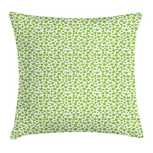 YXZILH Shamrock Throw Pillow Cushion Cover, Irish Culture Clovers with St Patrick's Day Theme Lucky Four Leafs, Decorative Square Accent Pillow Case, 18 X 18 inches, Apple Green and White