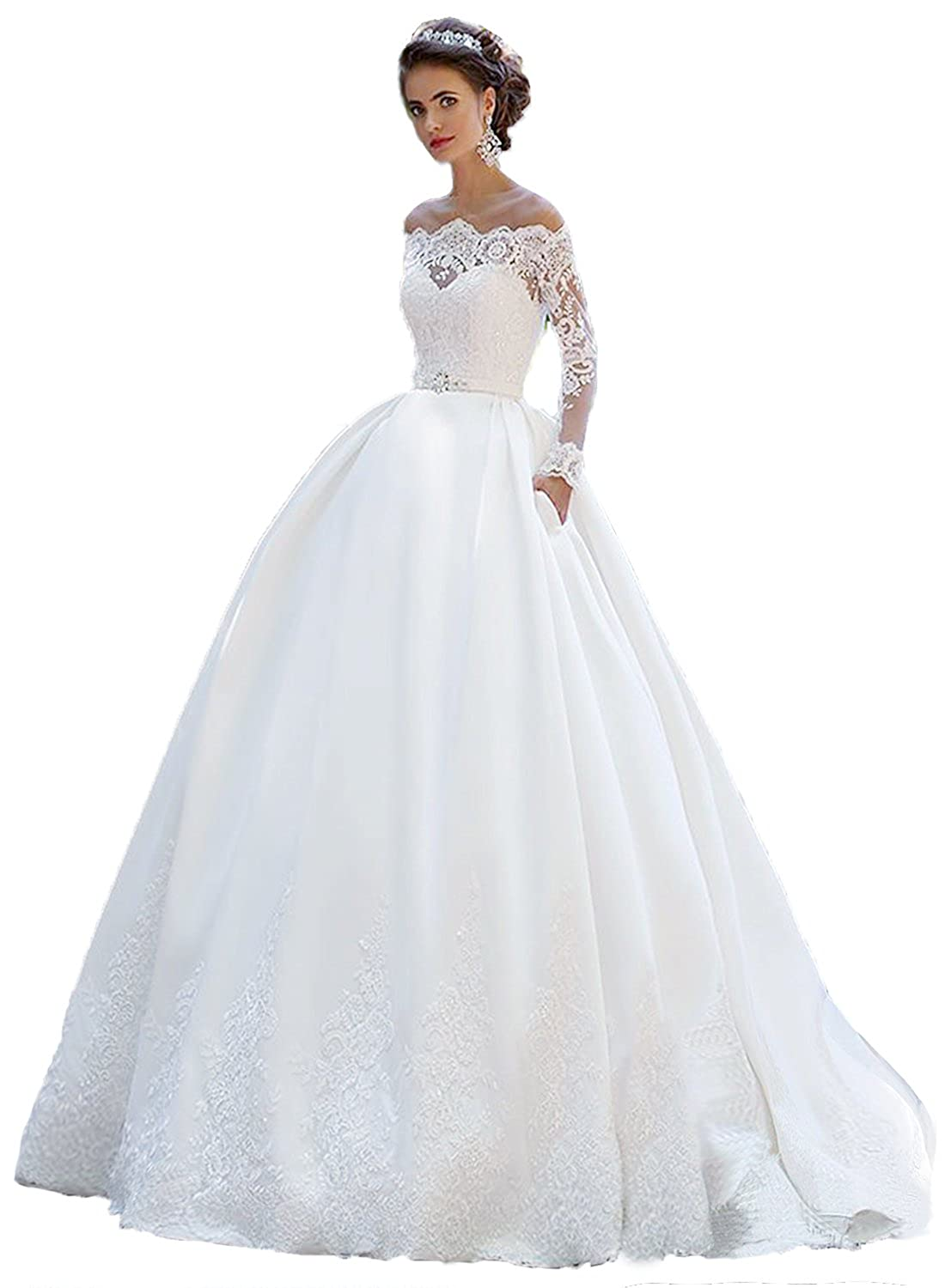 Modeldress Womens Lace Sleeves Wedding Dresses For Bride Train Long