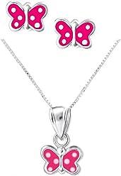 SL-Silver Set Kette Kinder Ohrringe Anhänger Pinker Schmetterling 925 Silber in Geschenkbox