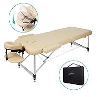Naipo Table de Massage Cosmétique Lit de Massage Kiné Pliante Professionnel Portable Ergonomique table Canapé Pieds en Aluminium Thérapie Haute Qualité Ultra Solide Léger Confort Housse de Transport 11.6KG Beige