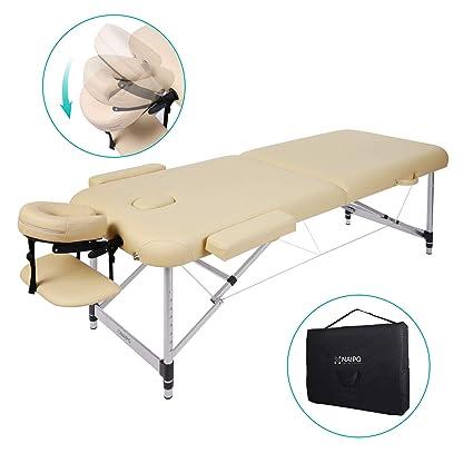 Lettino Per Massaggio Portatile In Alluminio.Naipo Lettino Da Massaggio Deluxe Professionale Portatile A 2 Sezioni Con Piedini In Alluminio Per Terapia Reiki Healing Tattoo Massaggio Thai