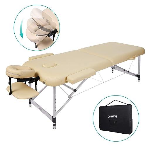 Naipo Massageliege Massagebank Massagetisch Klappbar Höhenverstellbar Leicht Tragbar mit 2 Zonen Aluminium-Füßen hochwertiger