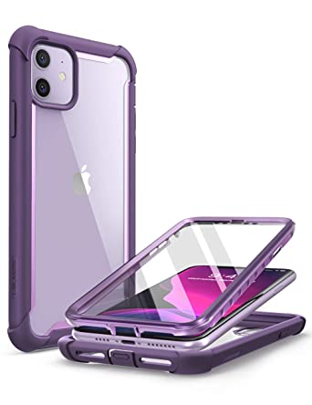 i,Blason Ares Case for iPhone 11 6.1 inch (2019 Release), Dual Layer Rugged  Clear Bumper Case with Built,in Screen Protector (Purple)