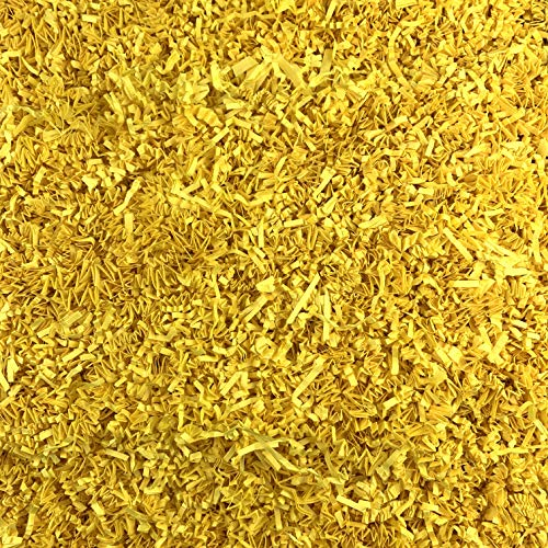 Worlds Crinkle Cut Paper Shred for Packing Filler Gift Wrap Basket Filler Colored Crinkle Paper 1LB Yellow