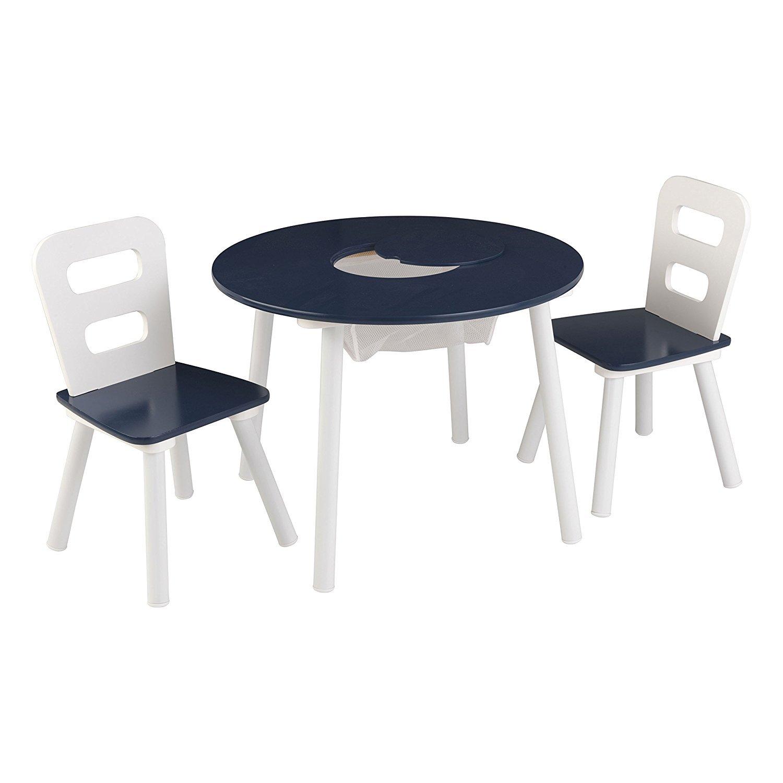 Amazon.com: KidKraft Round Table and 2 Chair Set (White/Navy): Toys ...