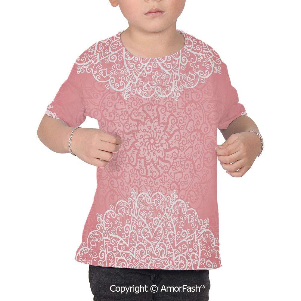 PUTIEN Light Pink Decor Childrens Short Sleeve Cool T-Shirt,Polyester,Doily Inspired C
