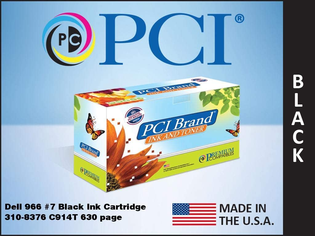 PCI Brand Remanufactured Ink Cartridge Replacement for Dell 966 Series 7 Black Ink Cartridge 310-8376 C914T 630 Page Yield