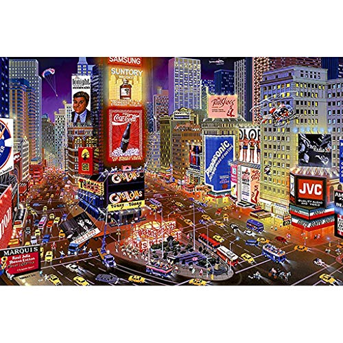 FORWIN US Puzzle House ⏰PT Night of Time Square, Wooden Jigsaw Puzzle, New York Street View, Fine Cut & Fit Classic 300pc Boxed Toys Game for Adults & Kids 511 (Color : B) from FORWIN US