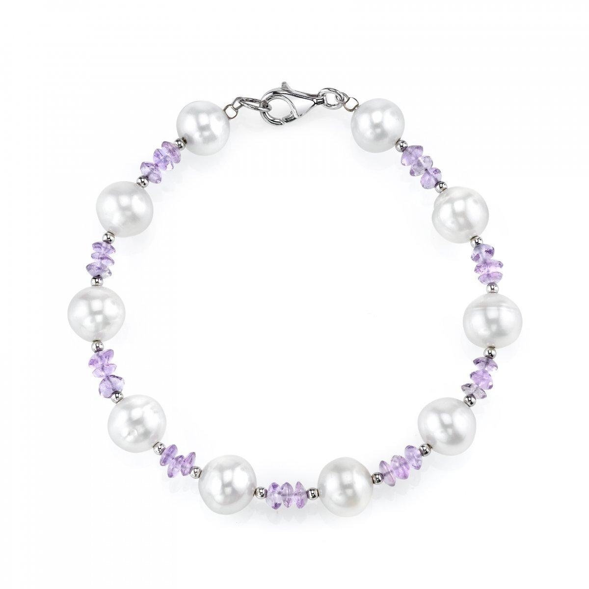 8-9mm Genuine White Freshwater Cultured Pearl & Amethyst Bracelet for Women