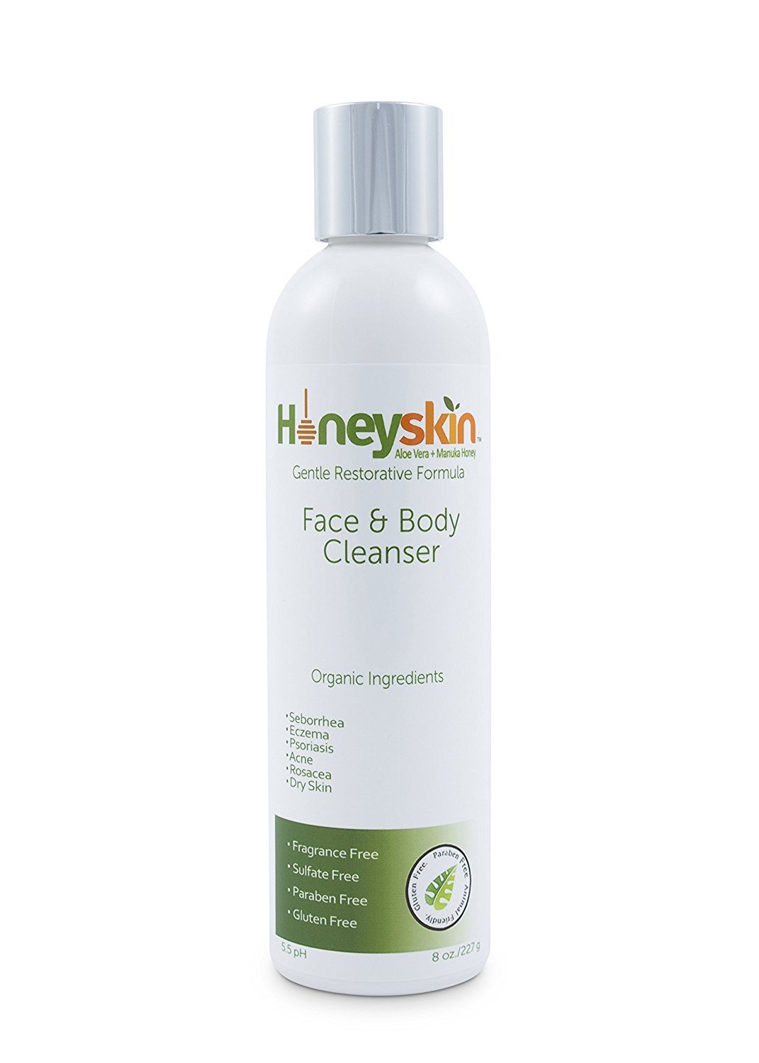 Face & Body Wash - for Sensitive & Dry Skin - Treatment for Eczema, Rosacea, Psoriasis, Blemish & Acne - with Manuka Honey & Aloe Vera - Anti Aging & Anti Bacterial Formula (4oz) Honeyskin Organics n/a