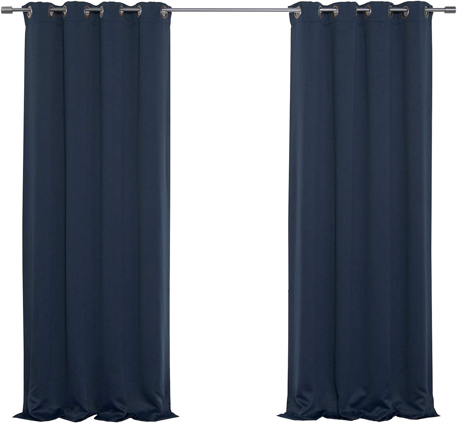 """Best Home Fashion Closeout Basic Thermal Insulated Blackout Curtains - Antique Bronze Grommet Top - Navy - 52"""" W x 96"""" L – (Set of 2 Panels)"""