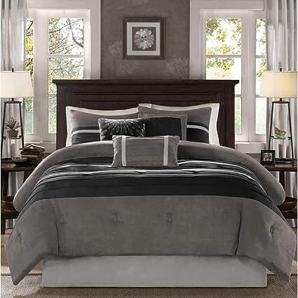 Amazon Com 7 Piece Slate Grey Black Patchwork Comforter Cal King