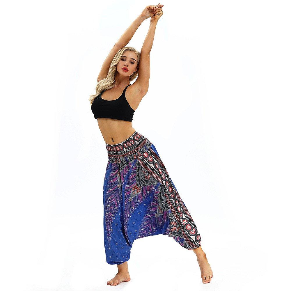 VPASS Mujer Hombre Pantalones,Pantalones de Yoga Mujer Yoga Impresi/ón Pantalones Sueltos de Cintura Alta Largos Pantalones Leggings Pantalones de Flores tailandesas Pantalones de har/én Festival Hippy