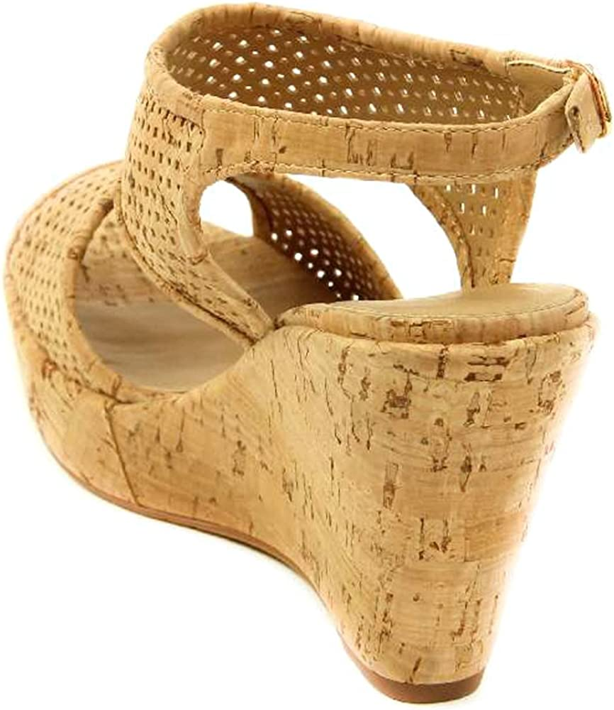 VANELi Womens Eleni Natural Cork//Gold Buckle Open Toe Heels Size 11