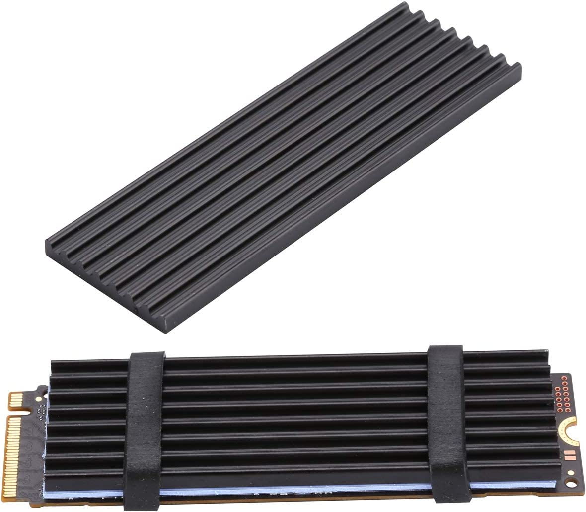 Awxlumv 2 Pcs m.2 Heatsink nvme 2280 SSD with Silicone Thermal Pad,DIY m2 Cooler 8 Fins for PCIe, Laptop PC Memory Cooling -Black