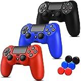 3 EN 1 PS4 Siliconas + 6 Grips Texturizados Colores Azul, Negro y Rojo. Fundas de Silicon para controles de PS4 Alomia - Fund